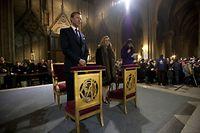 Le grand-duc Henri, la grande-duchesse Maria Teresa et leur fille, la princesse Alexandra à Notre-Dame de Paris le 3 février 2013 pour la bénédiction des cloches.