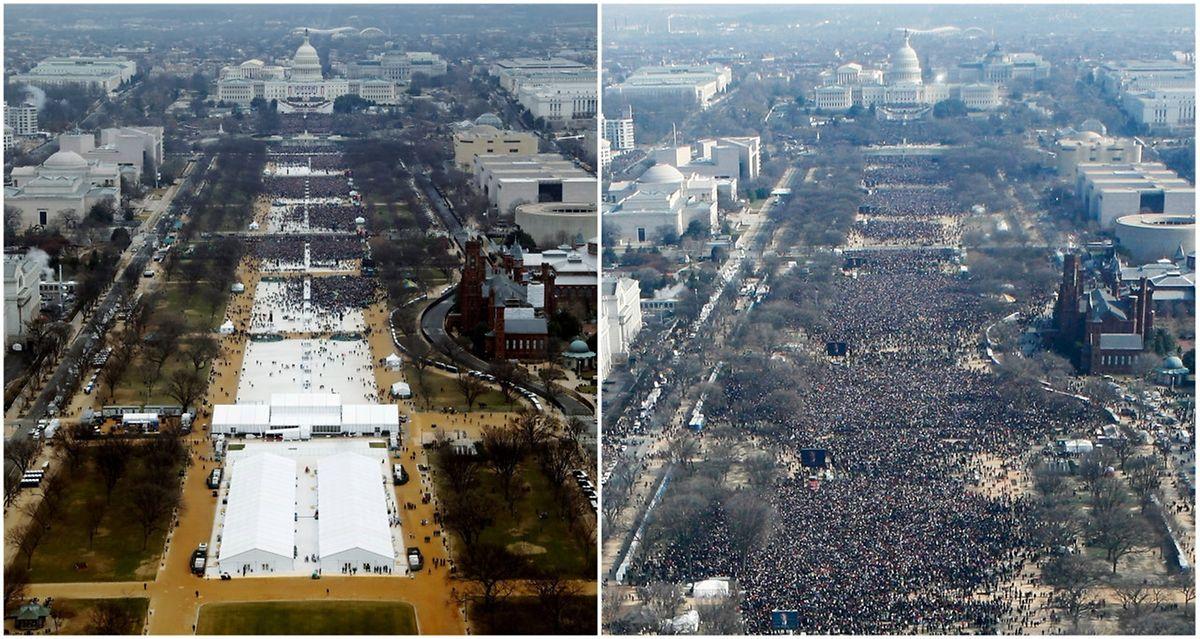 Eine Gegenüberstellung von Fotos aus den Jahren 2009 und 2017 zeigt deutlich, dass bei der Vereidigung von Barack Obama mehr Menschen auf den Grasflächen der National Mall waren.