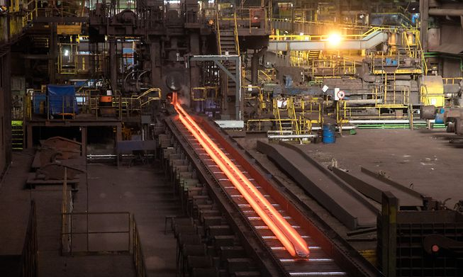 Production line at ArcelorMittal's Differdange plant in January