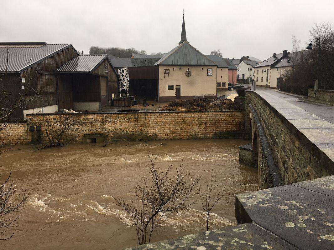 Hochwasser am Donnerstag in Boewingen/Attert.