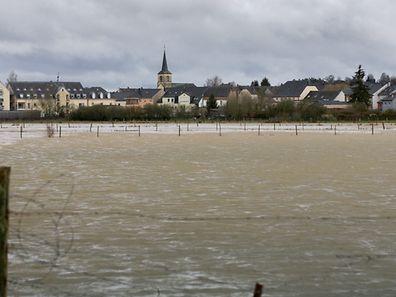 Diese Wiese bei Liwingen wurde nach den Regenfällen zum See.