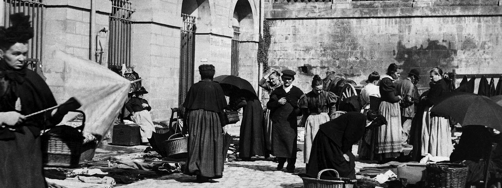 Reges Treiben in der Rue Notre-Dame im Jahre 1905.