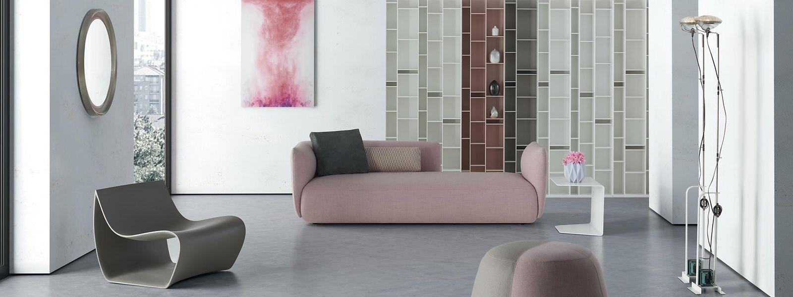 Die neuen Trendfarben - Rosa als Hingucker und Grau als Hauptfarbe - werden in verschiedensten Weisen eingebunden.