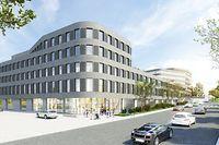 Das zukünftige Gebäude soll Ende 2023 fertig gestellt sein. (Grafik: bff architectes) / Foto: Frank WEYRICH