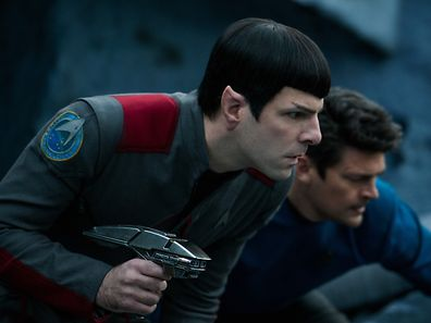 Left to right: Zachary Quinto plays Spock and Karl Urban plays Bones in Star Trek Beyond from Paramount Pictures, Skydance, Bad Robot, Sneaky Shark and Perfect Storm Entertainment