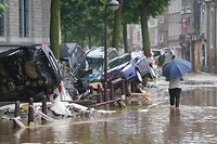 A picture taken on July 15, 2021 shows a view of a flooded street  in the Belgian city of Verviers, near Liege, after heavy rains and floods lashed western Europe. - The provincial disaster plan has been declared in Liege, Luxembourg and Namur provinces after large amounts of rainfall. Water in several rivers has reached alarming levels. (Photo by ANTHONY DEHEZ / BELGA / AFP) / Belgium OUT