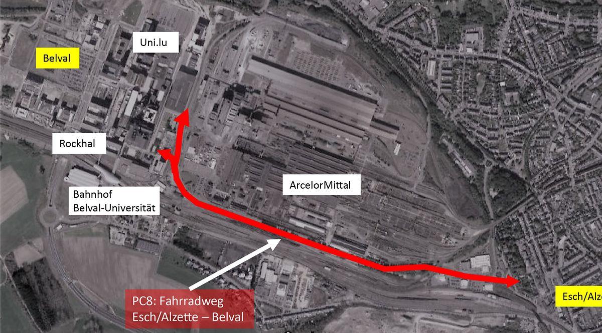 Der Fahrradweg wird eine Länge von zwei Kilometern haben. Damit er über das Gelände von Arcelor Mittal verlaufen konnte, musste der Staat lange Verhandlungen führen.