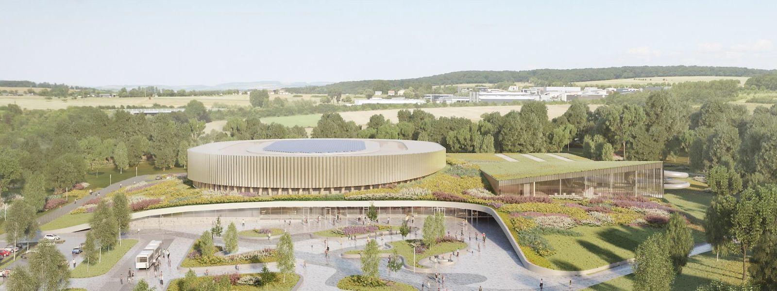 Das Velodrom mit seinem runden Dach sowie der Gebäudekomplex mit der Sporthalle und dem Hallenbad werden laut einer Kostenschätzung 65 Millionen Euro kosten.