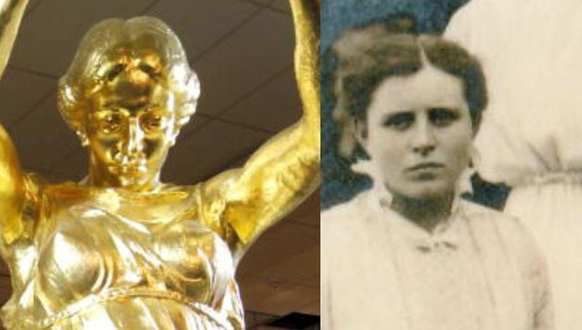 A estátua da Gëlle Fra e a modelo, Suzanne Marx