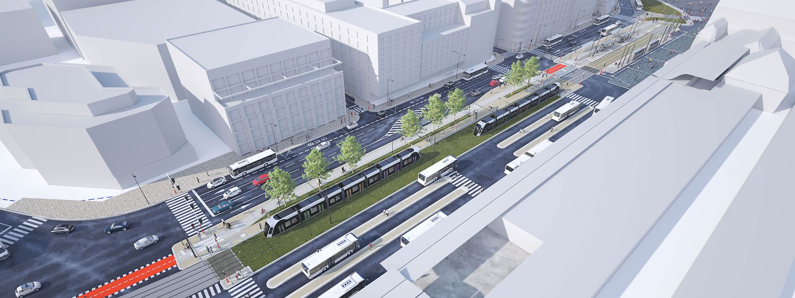 Comme ici, à hauteur d'Hamilius, le nouveau tram assurera la bonne connexion avec le réseau de bus.