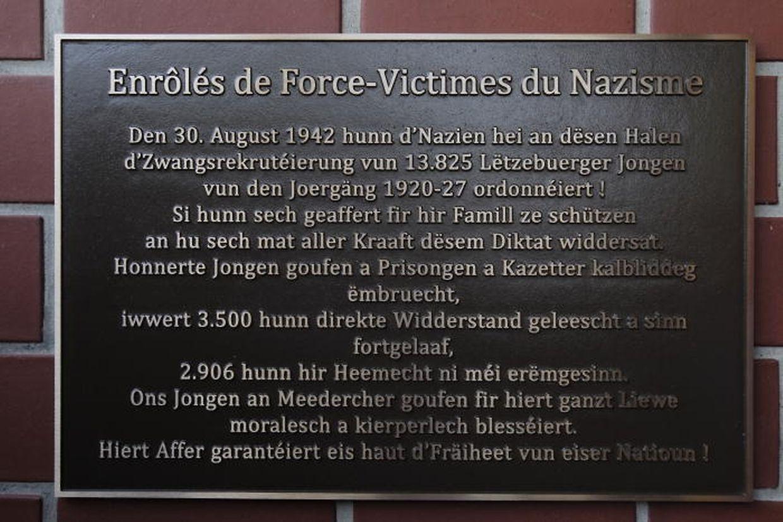 Diese Gedenktafel erinnert an die Opfer, die die Zwangsrekrutierten erbringen mussten.