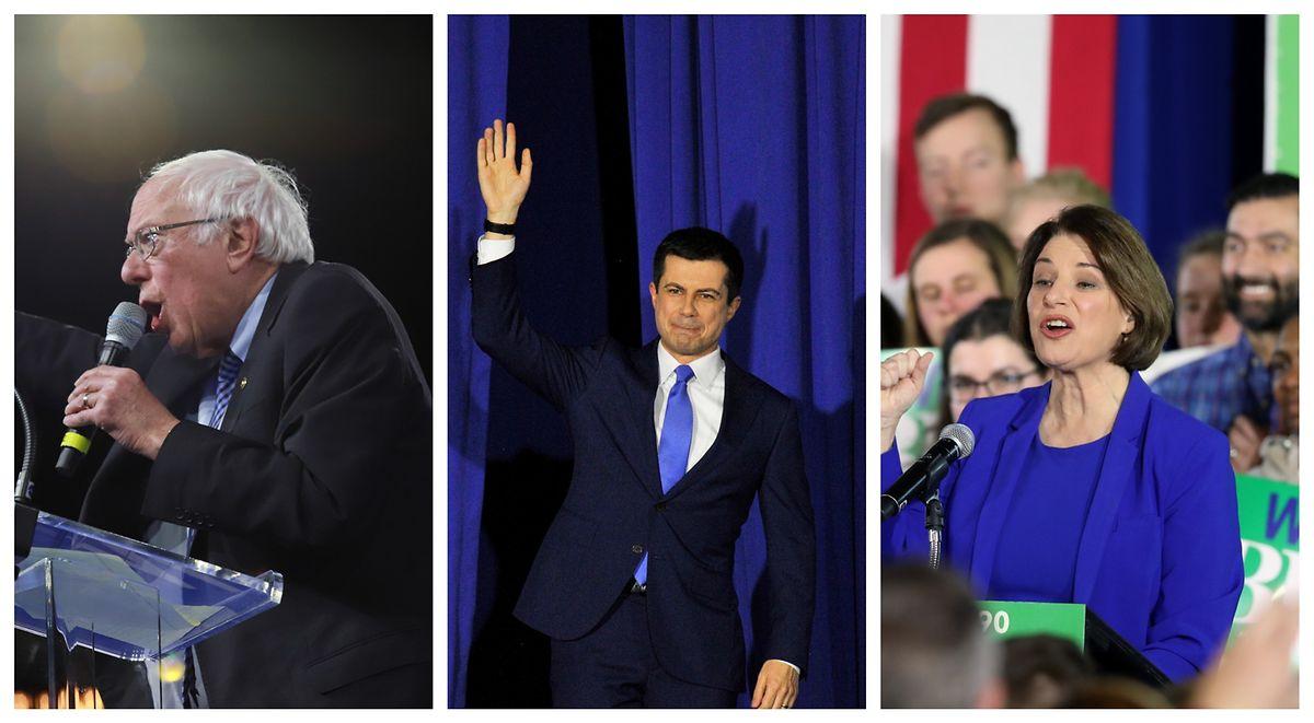 V.l.n.r.: Bernie Sanders, Pete Buttigieg und Amy Klobuchar holten in New Hampshire die meisten Stimmen.