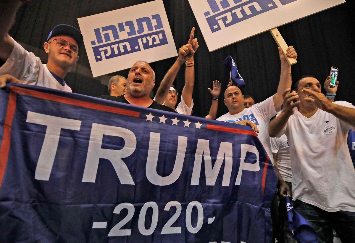 Unterstützer des US-Präsidenten bei der Wahlparty der regierenden Likud-Partei.