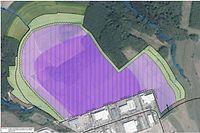 Auf der violetten Fläche soll das Datacenter entstehen. / Foto: Frank WEYRICH