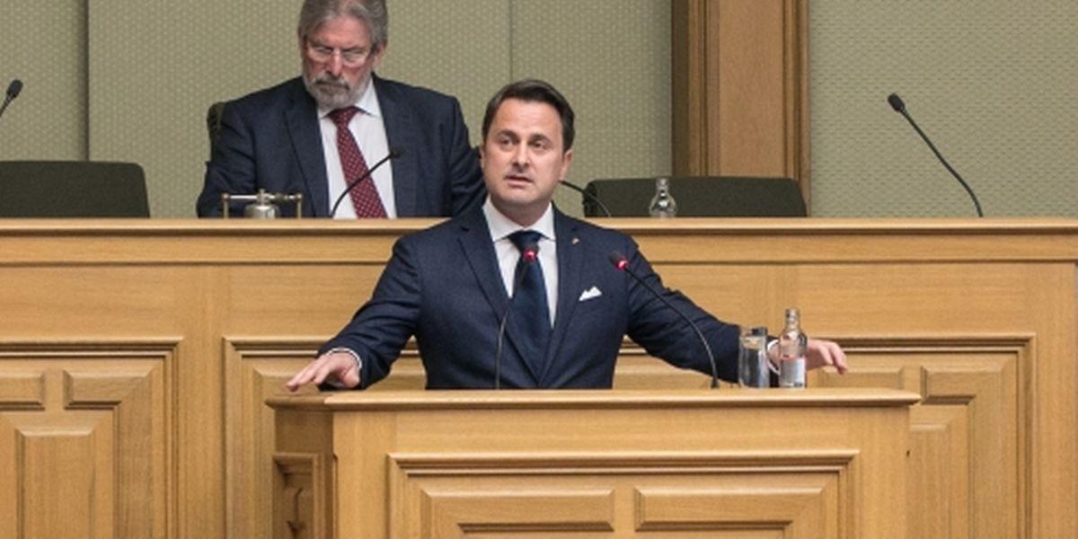 O primeiro-ministro Xavier Bettel durante o discurso sobre o estado da Nação esta terça-feira.
