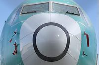 (FILES) In this file photo taken on March 21, 2019  two sensors, both at bottom, that measures the angle of attack is pictured on a Boeing 737 MAX 8 airplane outside the company's factory in Renton, Washington. - Boeing has flown test flights of its 737 MAX to evaluate a fix for the system targeted as a potential cause of two deadly plane crashes, two sources familiar with the matter said on March 26, 2019. The aviation giant, which has been under fire and its flagship narrow-body planes grounded since March 13, tested the system upgrade on Monday, two days after pilots from American Airlines did simulation flights in Renton, Washington, the sources said. (Photo by STEPHEN BRASHEAR / GETTY IMAGES NORTH AMERICA / AFP)