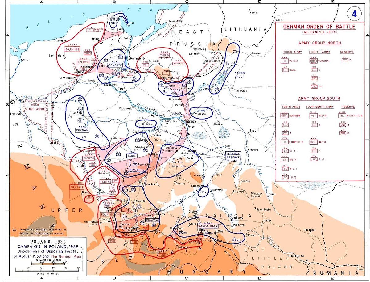 Die Truppenkonzentrationen auf beiden Seiten der Grenze bei Beginn der Kampfhandlungen.