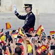(FILES) In this file photo taken on June 19, 2014 Spain's King Felipe VI waves on arrival to the Palacio de Oriente or Royal Palace in Madrid following a swearing in ceremony of Spain's new King before both houses of parliament.  King Felipe VI of Spain will turn 50 on January 30, 2018.  / AFP PHOTO / Miguel RIOPA