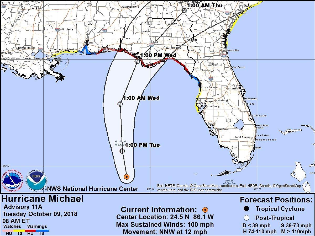 Die vorhergesagte Bahn des Hurrikans.
