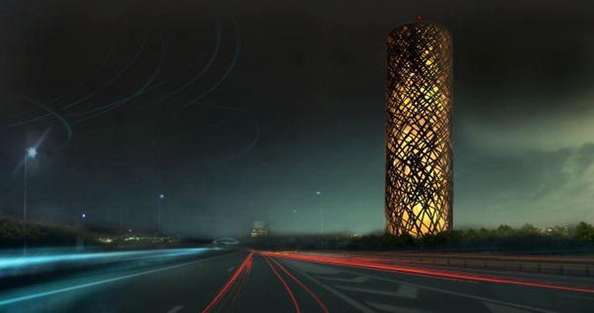 Nachts soll der Turm mit eindrucksvollen Lichtspielen bestechen.