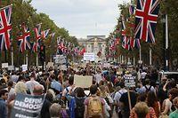 31.08.2019, Großbritannien, London: Demonstranten halten Plakate im Rahmen eines Protestes gegen den Brexit. In London und anderen Städten Großbritanniens hat es lautstarke Proteste gegen Premierminister Johnson gegeben. Tausende Demonstranten versuchten, sich vor dem Regierungssitz in der Downing Street mit Trommeln und Pfeifen Gehör zu verschaffen. Foto: Rick Findler/PA Wire/dpa +++ dpa-Bildfunk +++