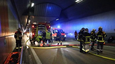 1.10.2016 Luxembourg, Mondorf, tunnel, scénario, Exercice grandeur nature, tunnel Mondorf photo Anouk Antony