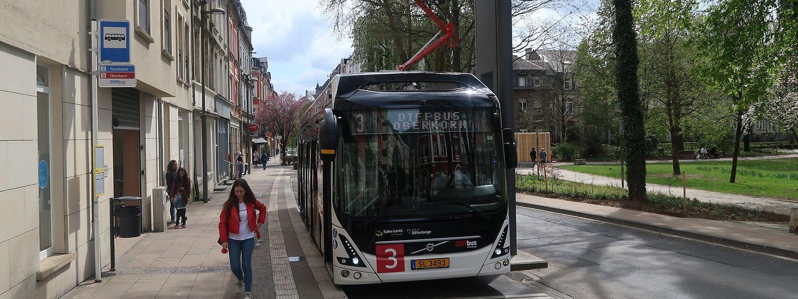 Beim Parc Gerlache in Differdingen steht eine der Aufladestationen der vier Diffbusse.