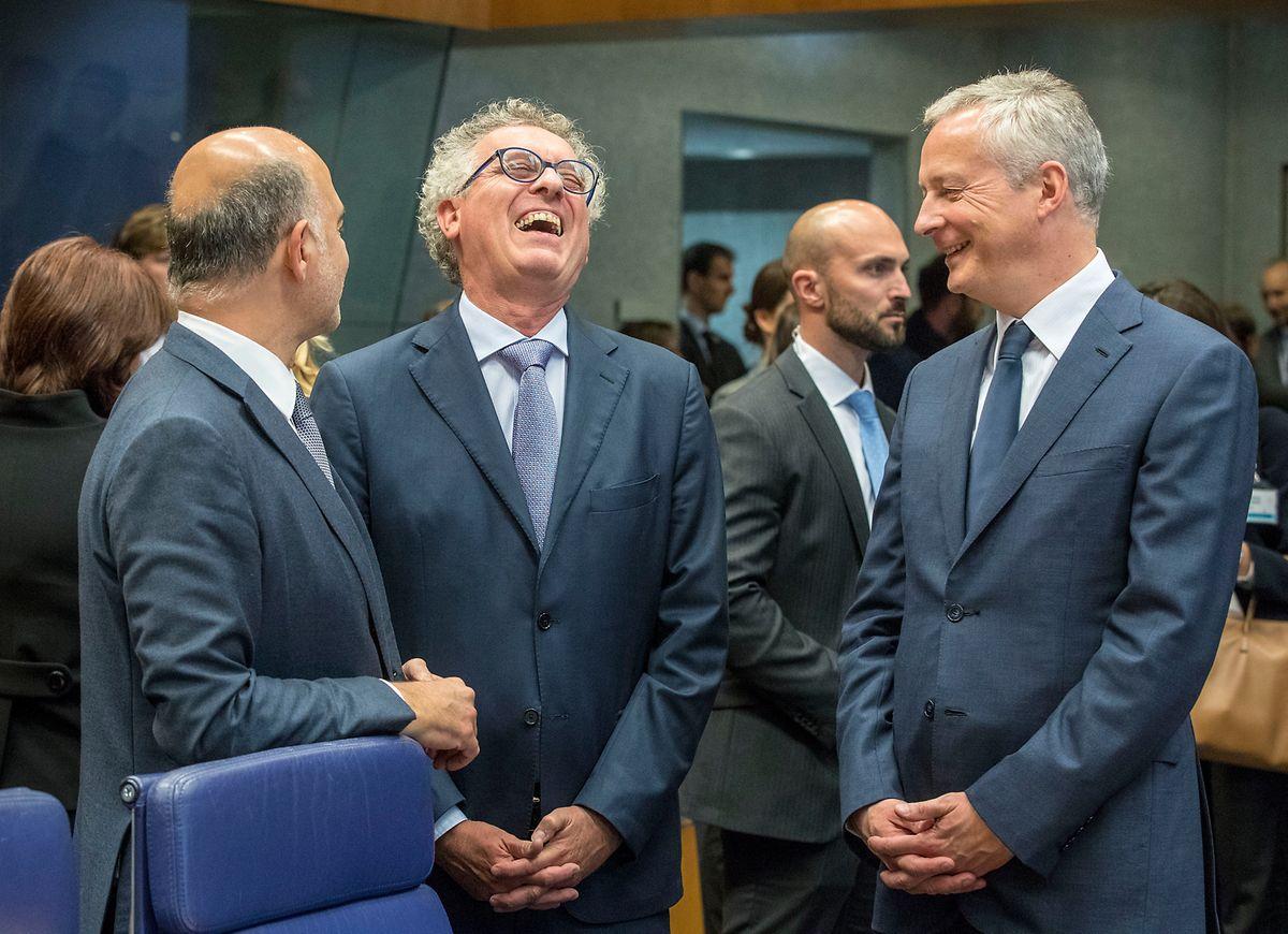 Gute Laune, ernste Themen: Finanzkommissar Pierre Moscovici, Finanzminister Pierre Gramegna und sein französischer Amtskollege Bruno Le Maire (v.l.n.r.) beim Ecofin-Rat Anfang Oktober 2018 in Luxemburg.