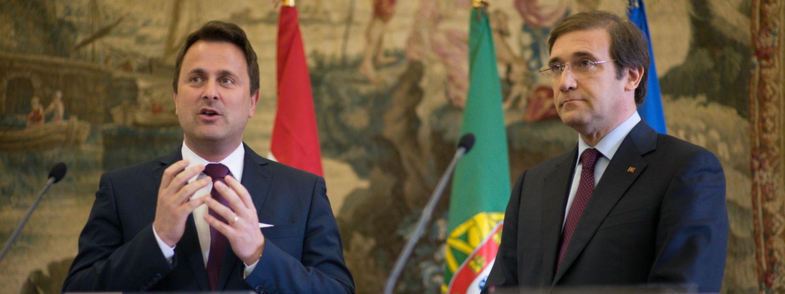 Xavier Bettel et Pedro Passos Coelho lors d'une rencontre officielle à Lisbonne en mars dernier