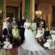 "TOPSHOT - CORRECTION - A picture released by Kensington Palace on behalf of The Duke and Duchess of Sussex on May 21, 2018 shows Britain's Prince Harry, Duke of Sussex, (CL) and his wife Meghan, Duchess of Sussex, (CR) posing for an official wedding photograph with (L-R back row) Britain's Camilla, Duchess of Cornwall, Britain's Prince Charles, Prince of Wales, Doria Ragland, the Duchess of Sussex's mother, Britain's Prince William, Duke of Cambridge, (middle row L-R): Master Jasper Dyer, Britain's Prince Philip, Duke of Edinburgh, Britain's Queen Elizabeth II, Britain's Catherine, Duchess of Cambridge, Princess Charlotte of Cambridge, Prince George of Cambridge, Miss Rylan Litt, Master John Mulroney and (front row) Miss Ivy Mulroney, Master Brian Mulroney, Miss Florence van Cutsem, Miss Zalie Warren and Miss Remi Litt in the Green Drawing Room, Windsor Castle, in Windsor on May 19, 2018.  / AFP PHOTO / KENSINGTON PALACE / Alexi Lubomirski / RESTRICTED TO EDITORIAL USE - MANDATORY CREDIT ""AFP PHOTO / THE DUKE AND DUCHESS OF SUSSEX / ALEXI LUBOMIRSKI "" - NO MARKETING NO ADVERTISING CAMPAIGNS - NO COMMERCIAL USE - NO SALES - RESTRICTED TO SUBSCRIPTION USE - NO USE IN SOUVENIRS OR MEMORABILIA - NO CROPPING, ENHANCING OR DIGITAL MODIFICATION - NOT TO BE USED AFTER DECEMBER 31, 2018 - DISTRIBUTED AS A SERVICE TO CLIENTS   / �The erroneous mention[s] appearing in the metadata of this photo by Alexi Lubomirski has been modified in AFP systems in the following manner: [A picture released by Kensington Palace on behalf of The Duke and Duchess of Sussex on May 21, 2018 shows Britain's Prince Harry, Duke of Sussex, (CL) and his wife Meghan, Duchess of Sussex, (CR) posing for an official wedding photograph with (L-R back row) Britain's Camilla, Duchess of Cornwall, Britain's Prince Charles, Prince of Wales, Doria Ragland, the Duchess of Sussex's mother, Britain's Prince William, Duke of Cambridge, (middle row L-R): Master Jasper Dyer, Britain's Prince Philip, Duke of Edinburgh,"