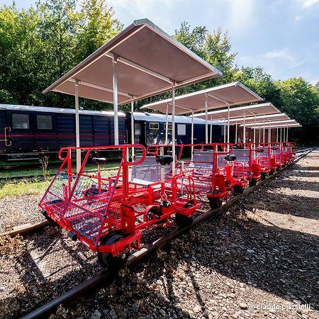 """Sechs Draisinen stehen zur Verfügung. Der Startpunkt befindet sich hinter dem Bahhof des """"Train 1900""""."""