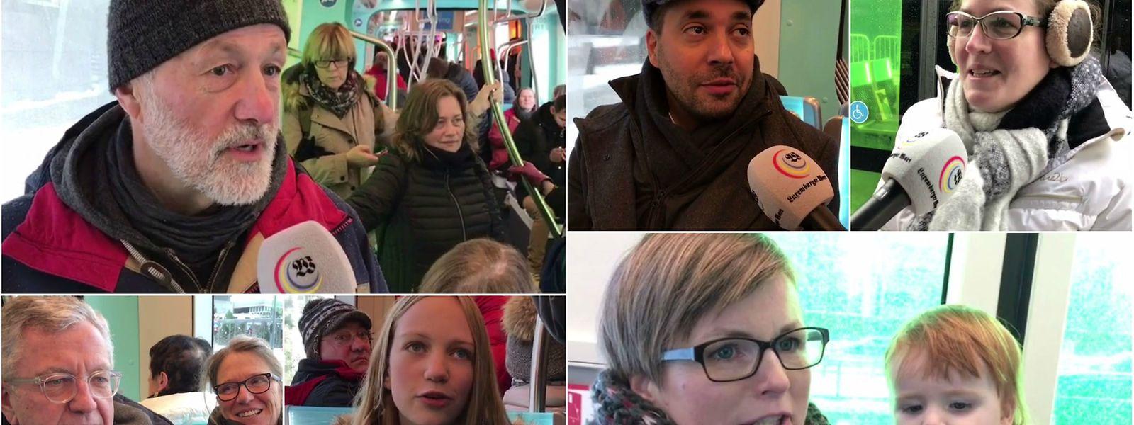 """Den Fahrgästen gefällt's: Vor der Kamera des """"Luxemburger Wort"""" wird die Tram gelobt."""
