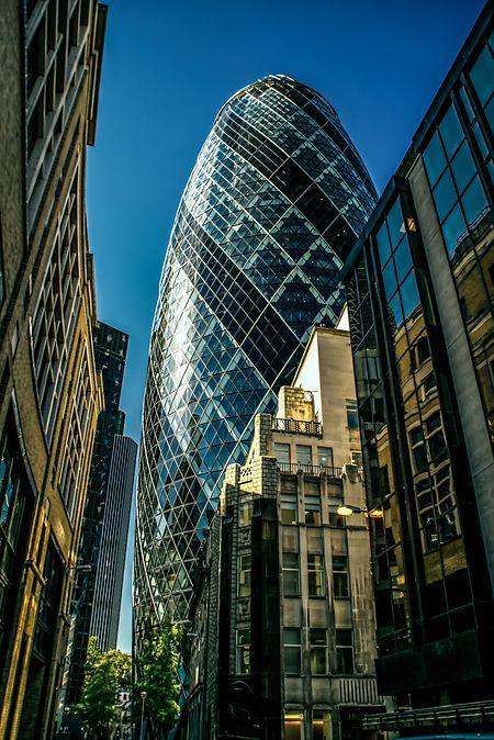 """Die """"Gherkin"""": Eines der Wahrzeichen des Londoner Finanzsektors."""