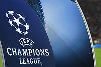 ARCHIV - 21.02.2017, Nordrhein-Westfalen, Leverkusen: Ein großes UEFA-Champions-League-Logo ist im Stadion vor dem Achtelfinal-Rückspiel der UEFA Champions League zwischen Bayer Leverkusen und Atletico Madrid in der BayArena zu sehen. Foto: Marius Becker/dpa +++ dpa-Bildfunk +++