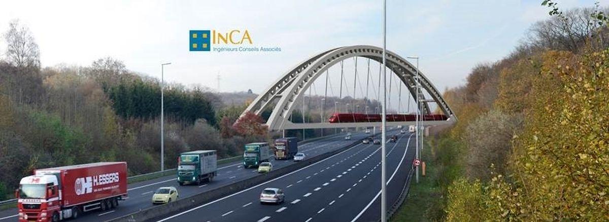 L'ouvrage prendra place à 5,10m au dessus des voies de l'autoroute A3.