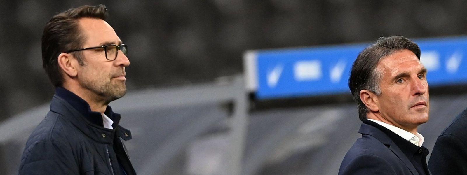 Manager Michael Preetz und Trainer Bruno Labadia müssen den deutschen Hauptstadtclub Hertha BSC verlassen.