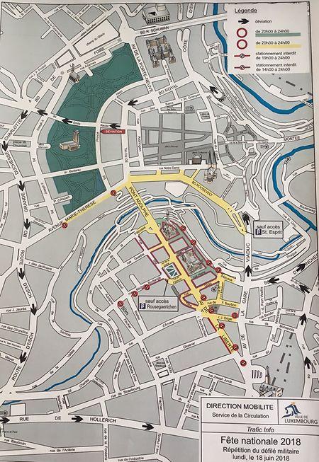 Plan de circulation pour le 18 juin.