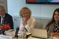 Beschäftigungsminister Dan Kersch, Adem-Direktorin Isabelle Schlesser und die beigeordnete Direktorin Gaby Wagner stellten am Dienstag den Jahresbericht der Adem vor.