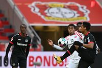 Leverkusen's Brazilian defender Wendell (R) and Mainz' Luxembourgian midfielder Leandro Barreiro Martins (2nd R) vie for the ball during the German first division Bundesliga football match between Bayer 04 Leverkusen and 1 FSV Mainz 05 in Leverkusen, western Germany, on February 13, 2021. (Photo by Federico Gambarini / POOL / AFP) / DFL REGULATIONS PROHIBIT ANY USE OF PHOTOGRAPHS AS IMAGE SEQUENCES AND/OR QUASI-VIDEO