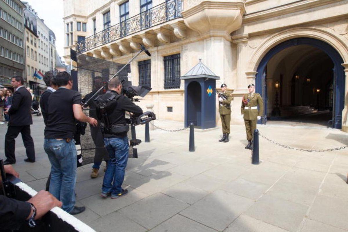 Tournage du documentaire dans le palais grand-ducal, les 25 et 26 avril 2014