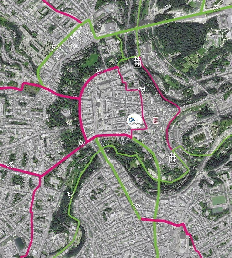 In Grün, die bestehende Infrastruktur, in Magenta die Pläne von Déi Gréng Stad
