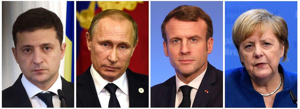 Die deutsche Bundeskanzlerin Angela Merkel und der französische Präsident Macron kommen am Montag mit dem russischen Präsidenten Wladimir Putin und dessen ukrainischen Kollegen Wolodymyr Selenskyj im Élyséepalast zusammen.