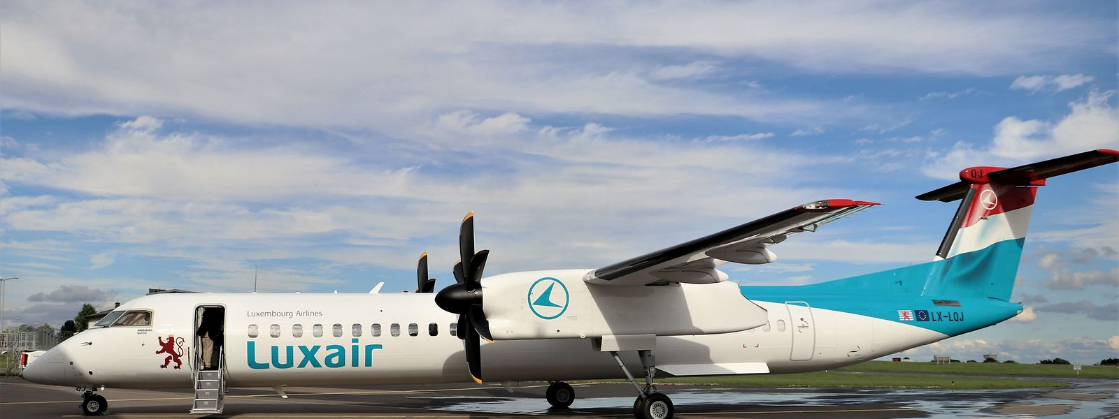 Die neue Bombardier Q400 der Luxair.