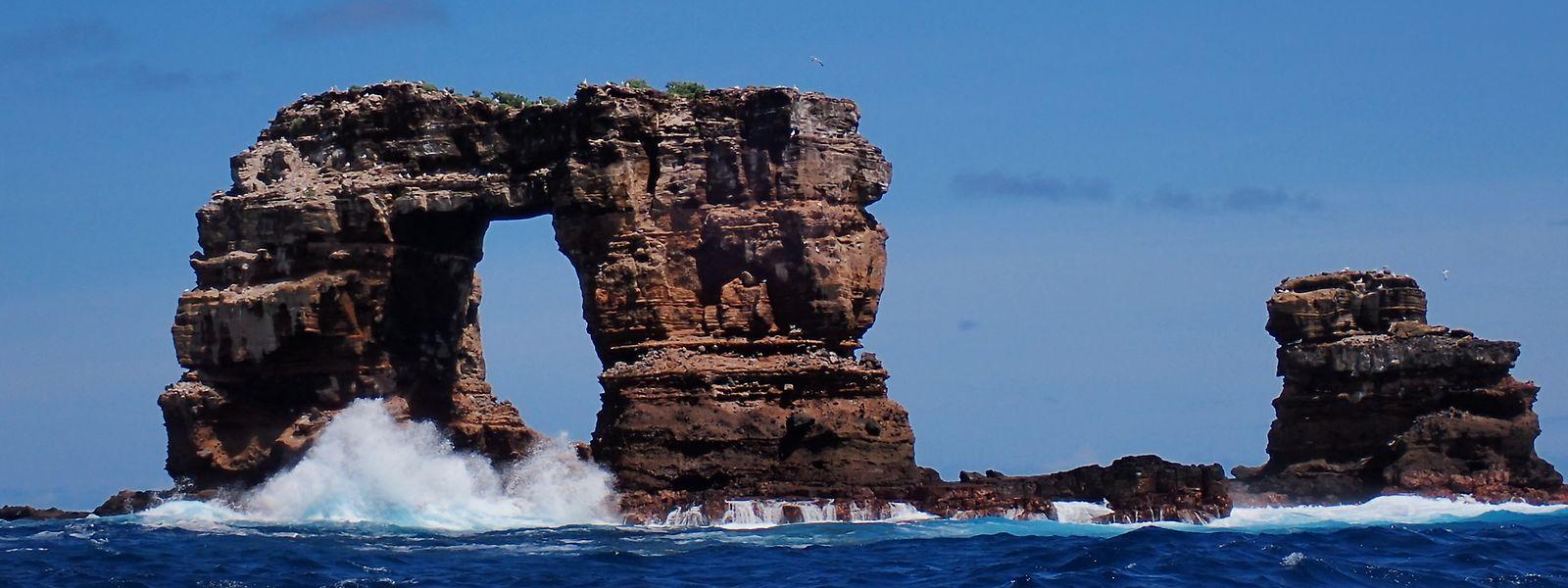 Das Foto vom Februar 2021 zeigt den Darwin-Bogen auf den Galapagos-Inseln vor dem Einsturz.