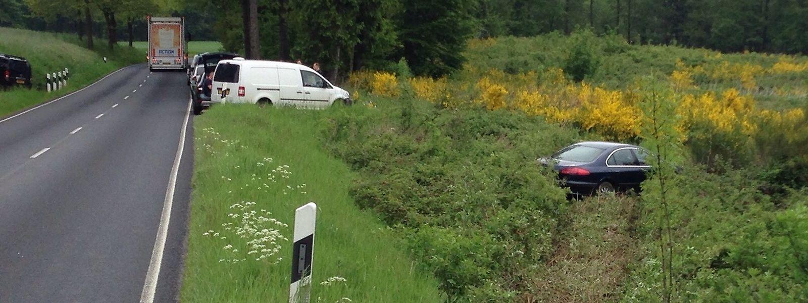 Das verdächtige Auto landete neben der Straße im Gebüsch.
