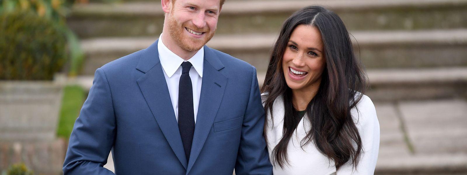 Le prince Harry et Meghan Markle à l'annonce de leurs fiançailles