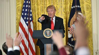 Donald Trump bei der Pressekonferenz in Washington.