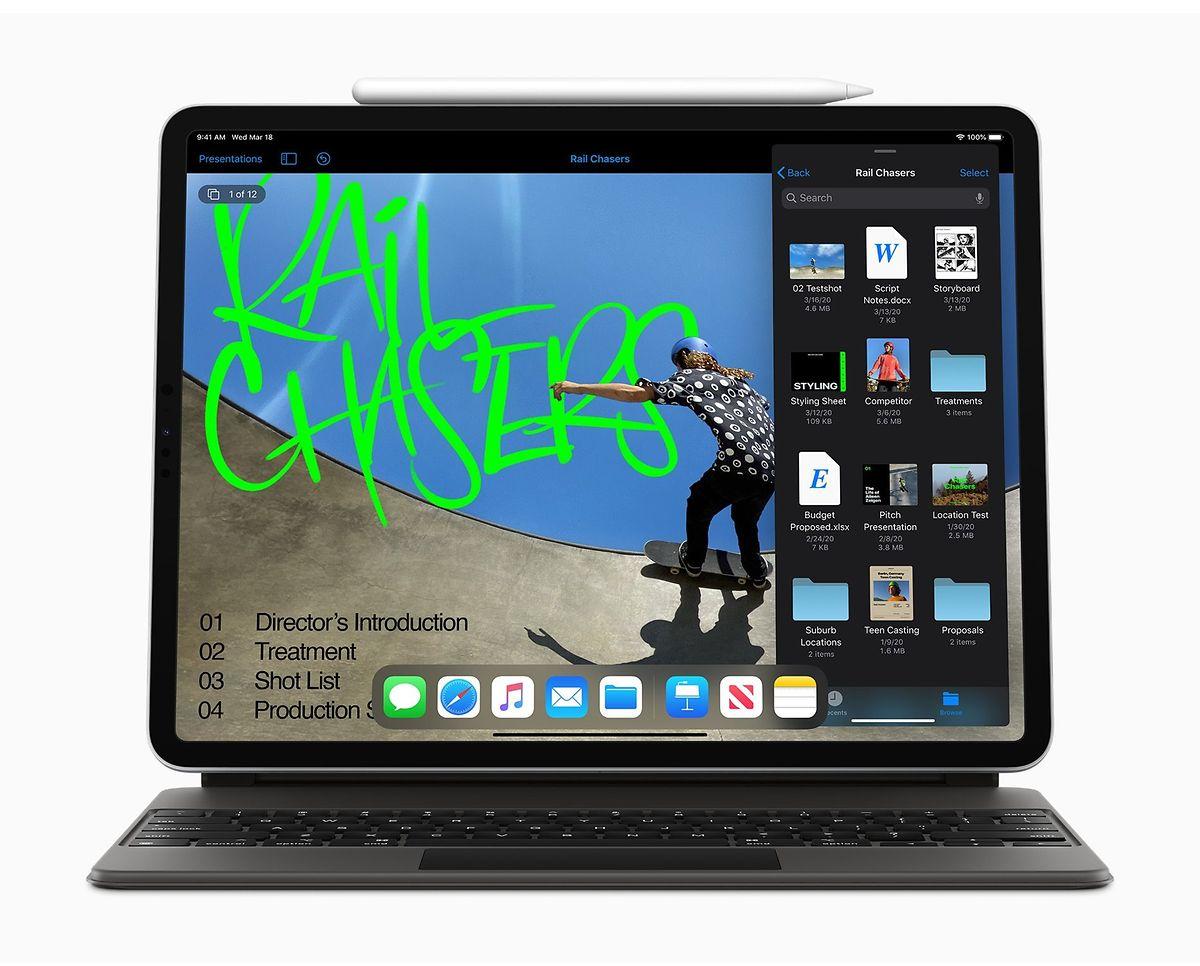"""Als neues Zubehör gibt es für das iPad Pro das mit Hintergrundbeleuchtung ausgestattete """"Magic Keyboard"""" – eine USB-C-Tastatur (mit integriertem Trackpad)."""