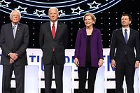 WESTERVILLE, OHIO - OCTOBER 15: Sen. Bernie Sanders (I-VT), former Vice President Joe Biden, Sen. Elizabeth Warren (D-MA), and South Bend, Indiana Mayor Pete Buttigieg are introduced before the Democratic Presidential Debate at Otterbein University on October 15, 2019 in Westerville, Ohio. A record 12 presidential hopefuls are participating in the debate hosted by CNN and The New York Times.   Chip Somodevilla/Getty Images/AFP == FOR NEWSPAPERS, INTERNET, TELCOS & TELEVISION USE ONLY ==