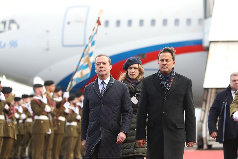 Dmitri Medwedew bei seiner Ankunft auf dem Findel.